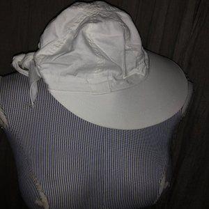 Talbots white tie back wide rim visor sun hat